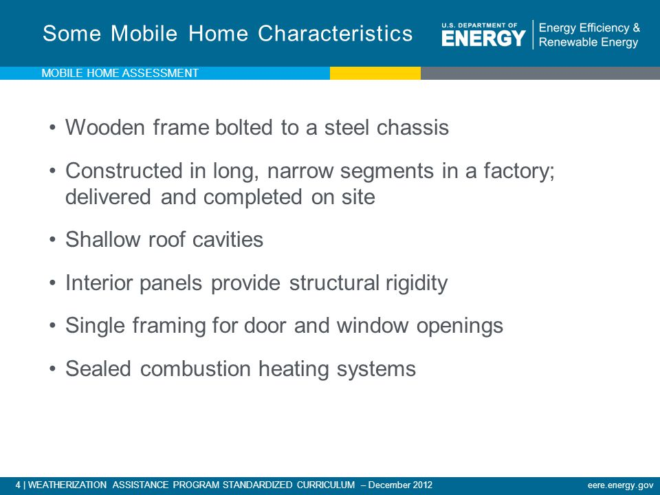 Some Mobile Home Characteristics
