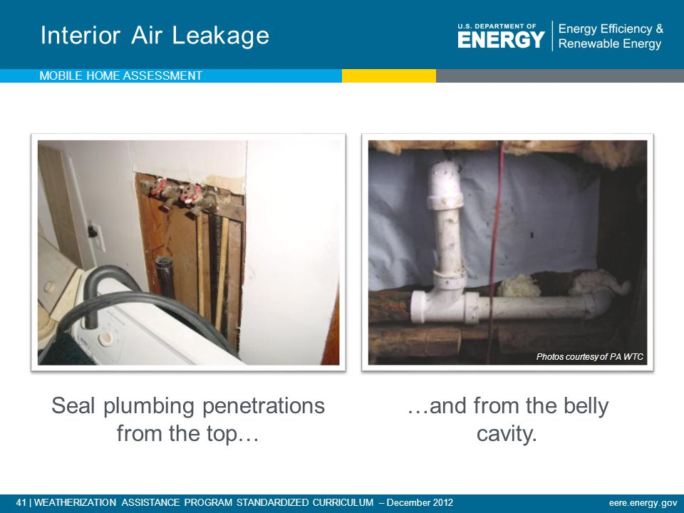 Interior Air Leakage Seal plumbing penetrations from the top…
