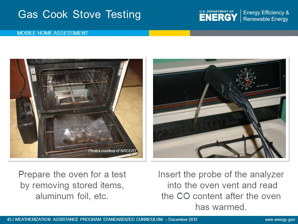 Gas Cook Stove Testing Mobile Home Assessment.