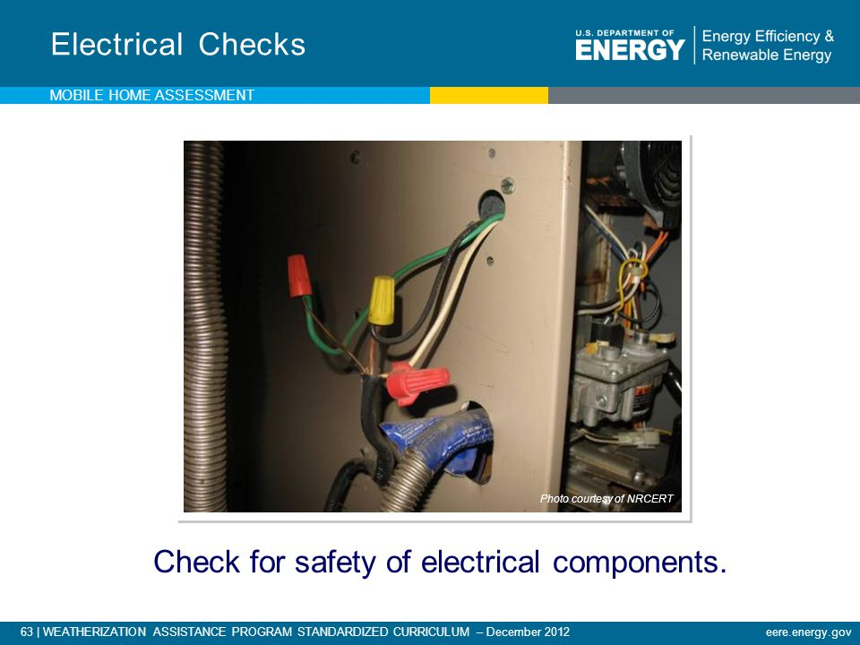 Check for safety of electrical components.