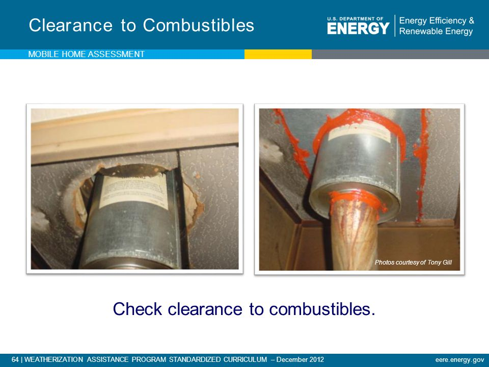 Check clearance to combustibles.