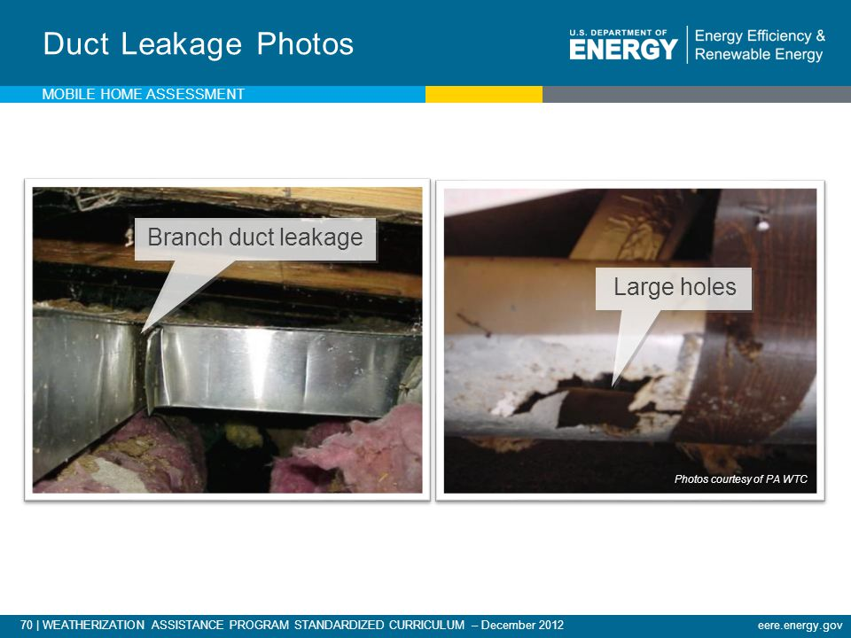 Duct Leakage Photos Branch duct leakage Large holes