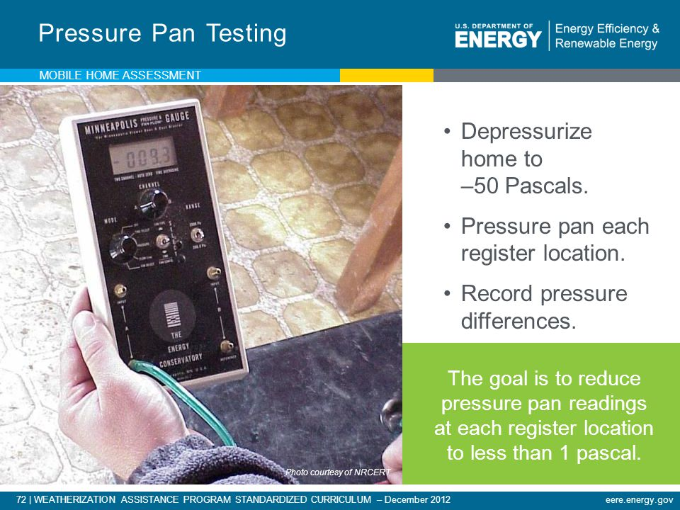 Pressure Pan Testing Depressurize home to –50 Pascals.