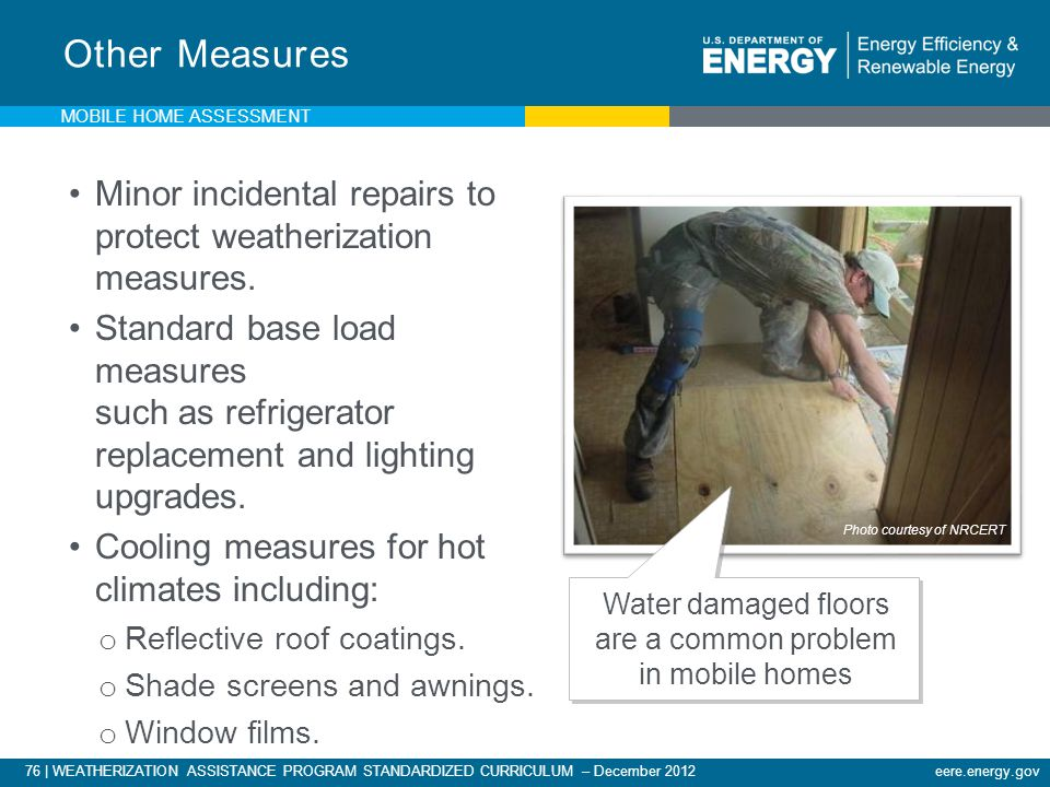Water damaged floors are a common problem in mobile homes