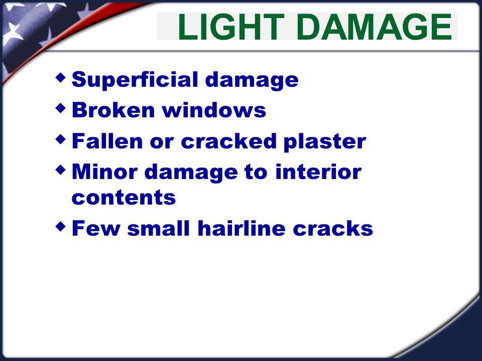 LIGHT DAMAGE Superficial damage Broken windows