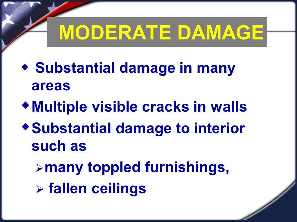 MODERATE DAMAGE Multiple visible cracks in walls