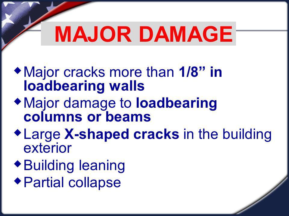 MAJOR DAMAGE Major cracks more than 1/8 in loadbearing walls