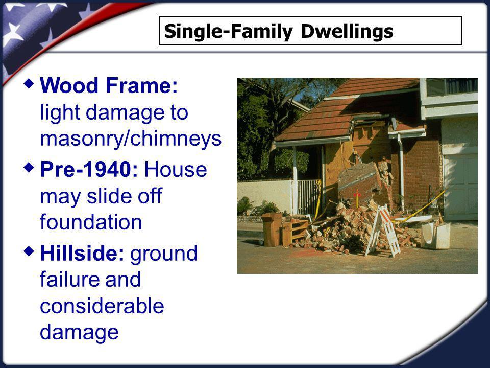 Wood Frame: light damage to masonry/chimneys