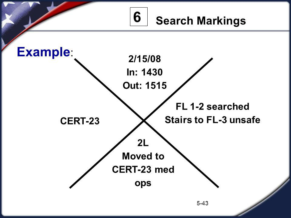 6 Example: Search Markings 2/15/08 In: 1430 Out: 1515 FL 1-2 searched