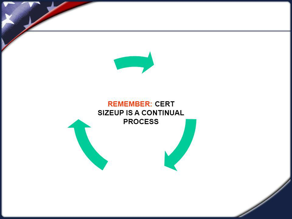 REMEMBER: CERT SIZEUP IS A CONTINUAL PROCESS