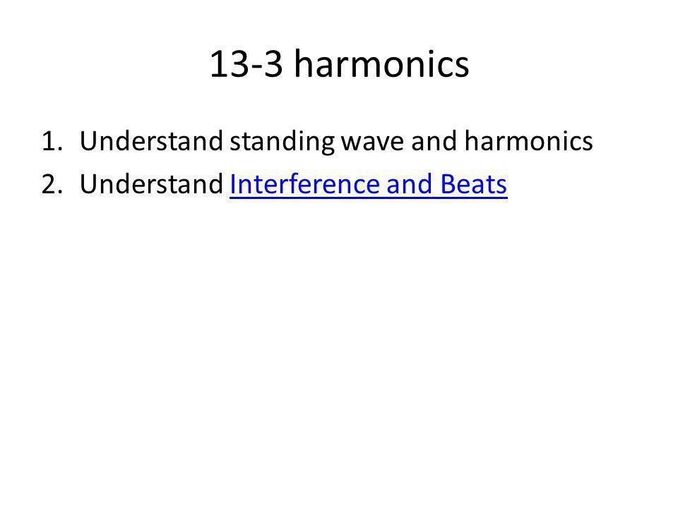 13-3 harmonics Understand standing wave and harmonics