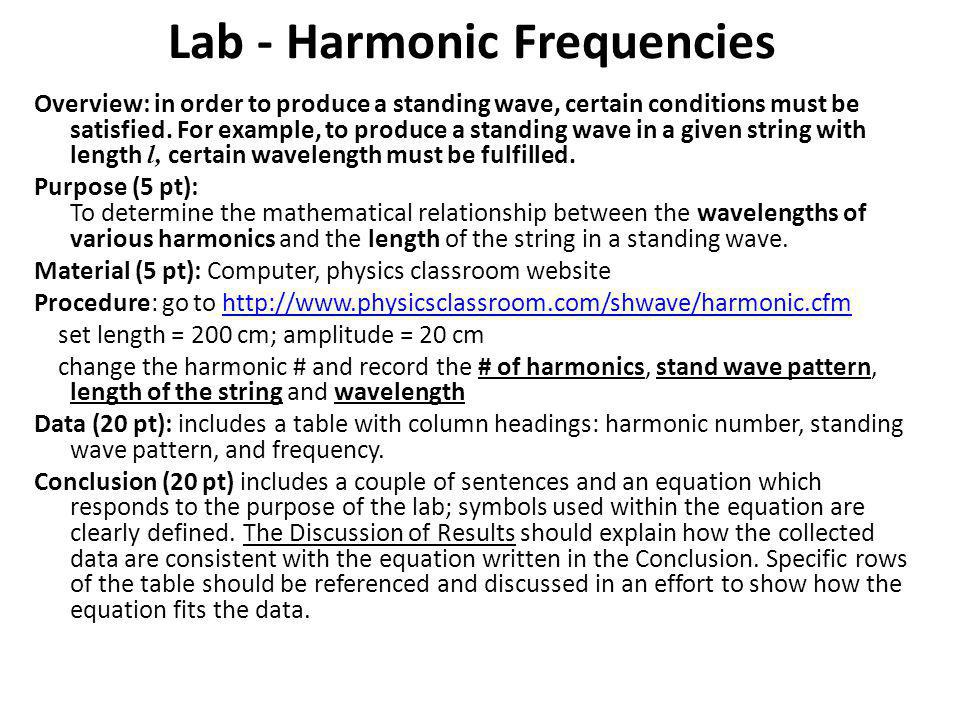 Lab - Harmonic Frequencies