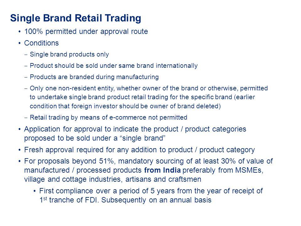 Single Brand Retail Trading
