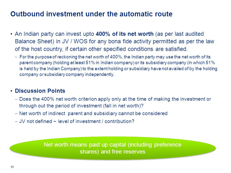 Outbound investment under the automatic route