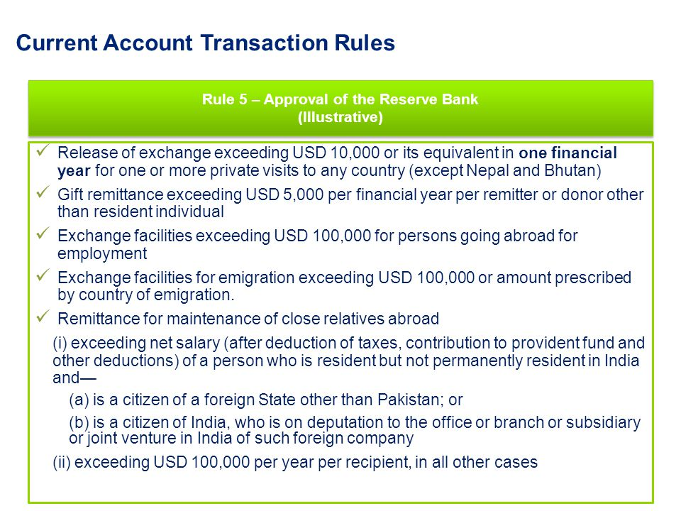 Current Account Transaction Rules