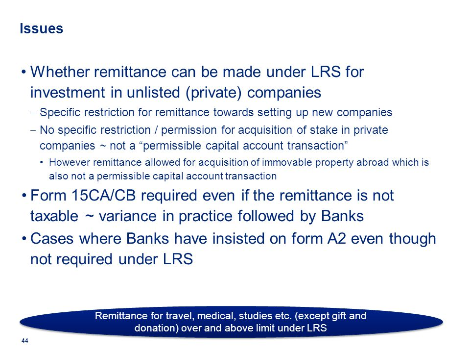 Issues Whether remittance can be made under LRS for investment in unlisted (private) companies.