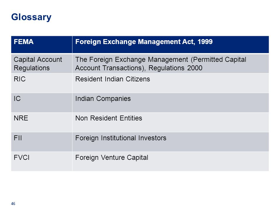 Glossary FEMA Foreign Exchange Management Act, 1999