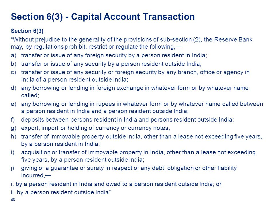 Section 6(3) - Capital Account Transaction