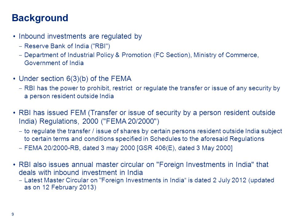 Background Inbound investments are regulated by