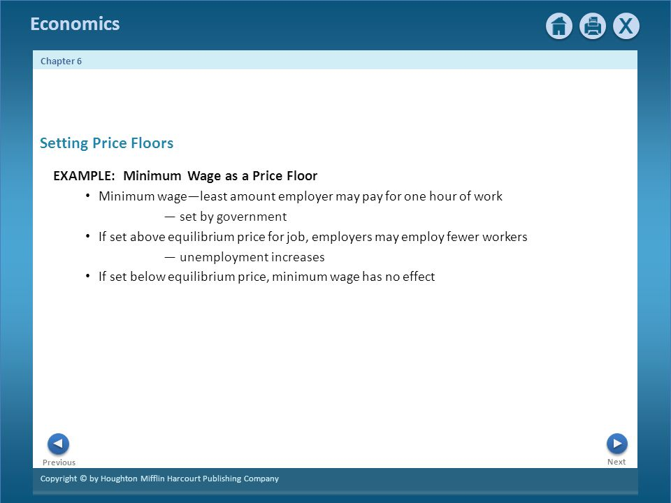 Setting Price Floors EXAMPLE: Minimum Wage as a Price Floor
