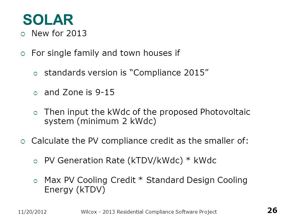 Wilcox - 2013 Residential Compliance Software Project