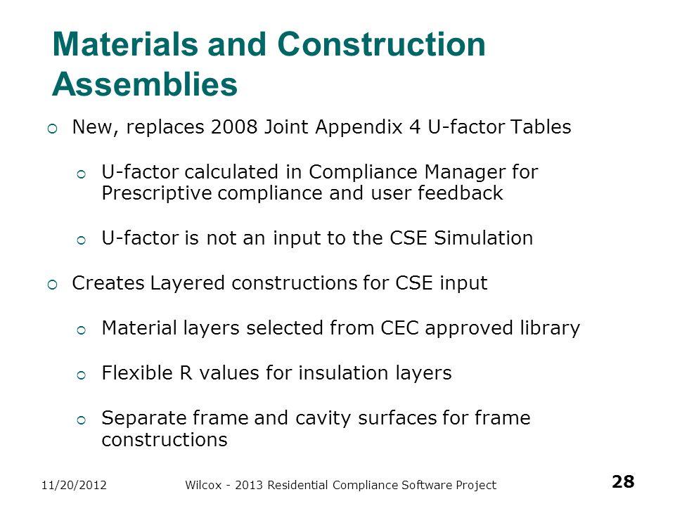 Materials and Construction Assemblies