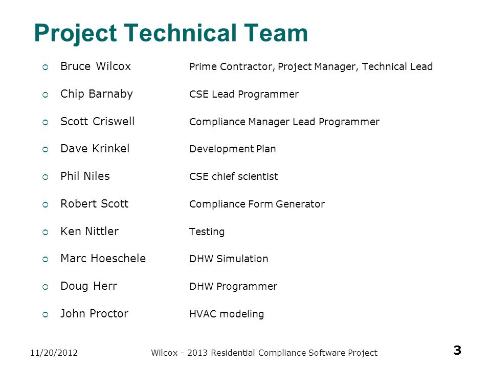 Project Technical Team