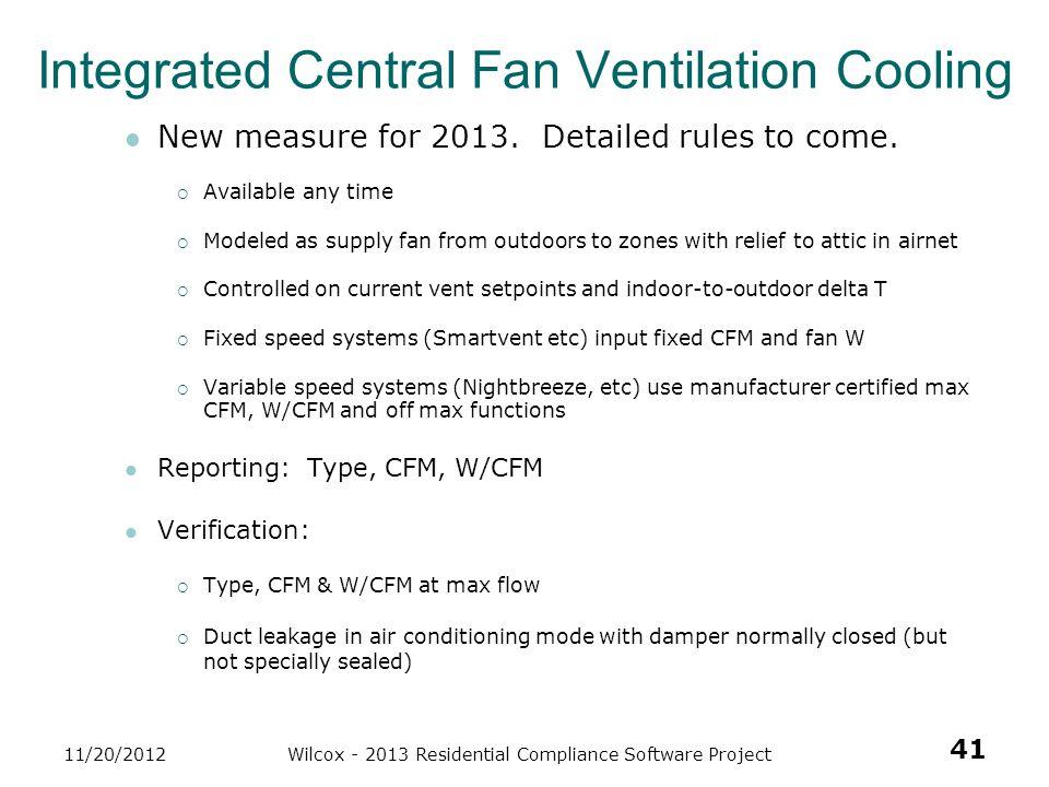 Integrated Central Fan Ventilation Cooling
