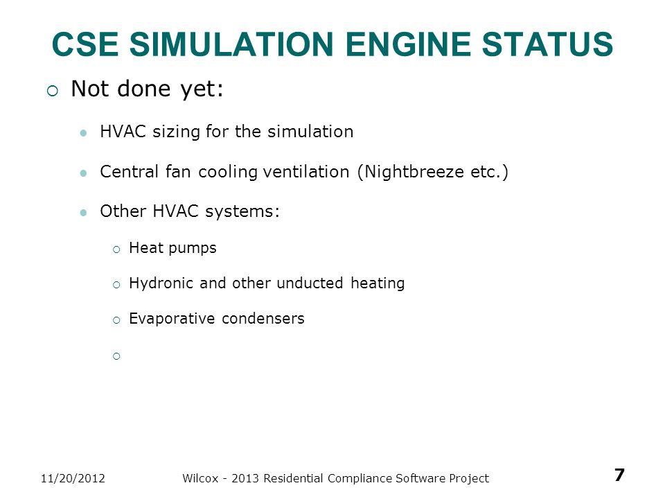 CSE Simulation Engine sTATUS