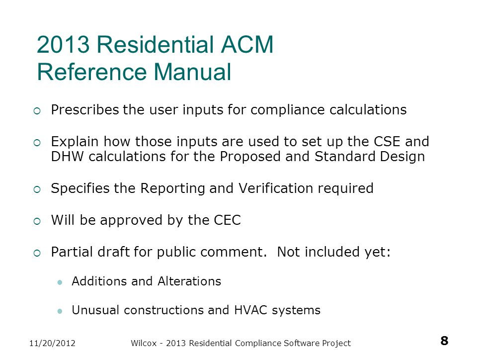 2013 Residential ACM Reference Manual