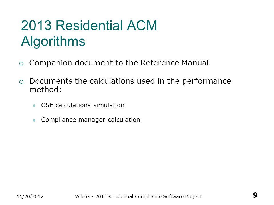 2013 Residential ACM Algorithms