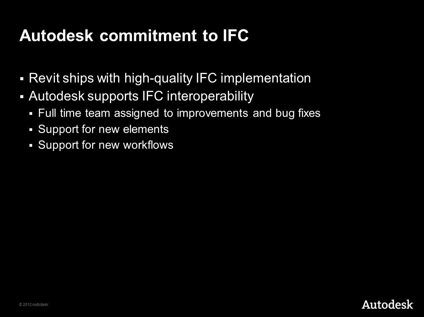 Autodesk commitment to IFC