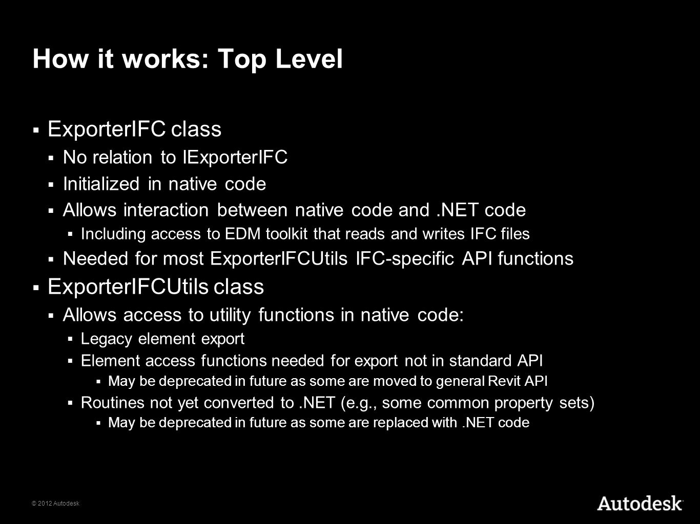 How it works: Top Level ExporterIFC class ExporterIFCUtils class