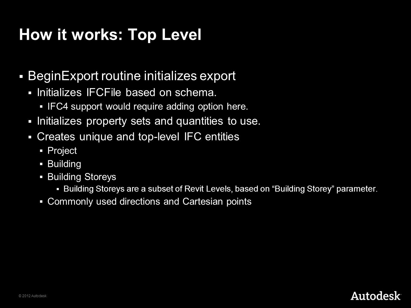 How it works: Top Level BeginExport routine initializes export