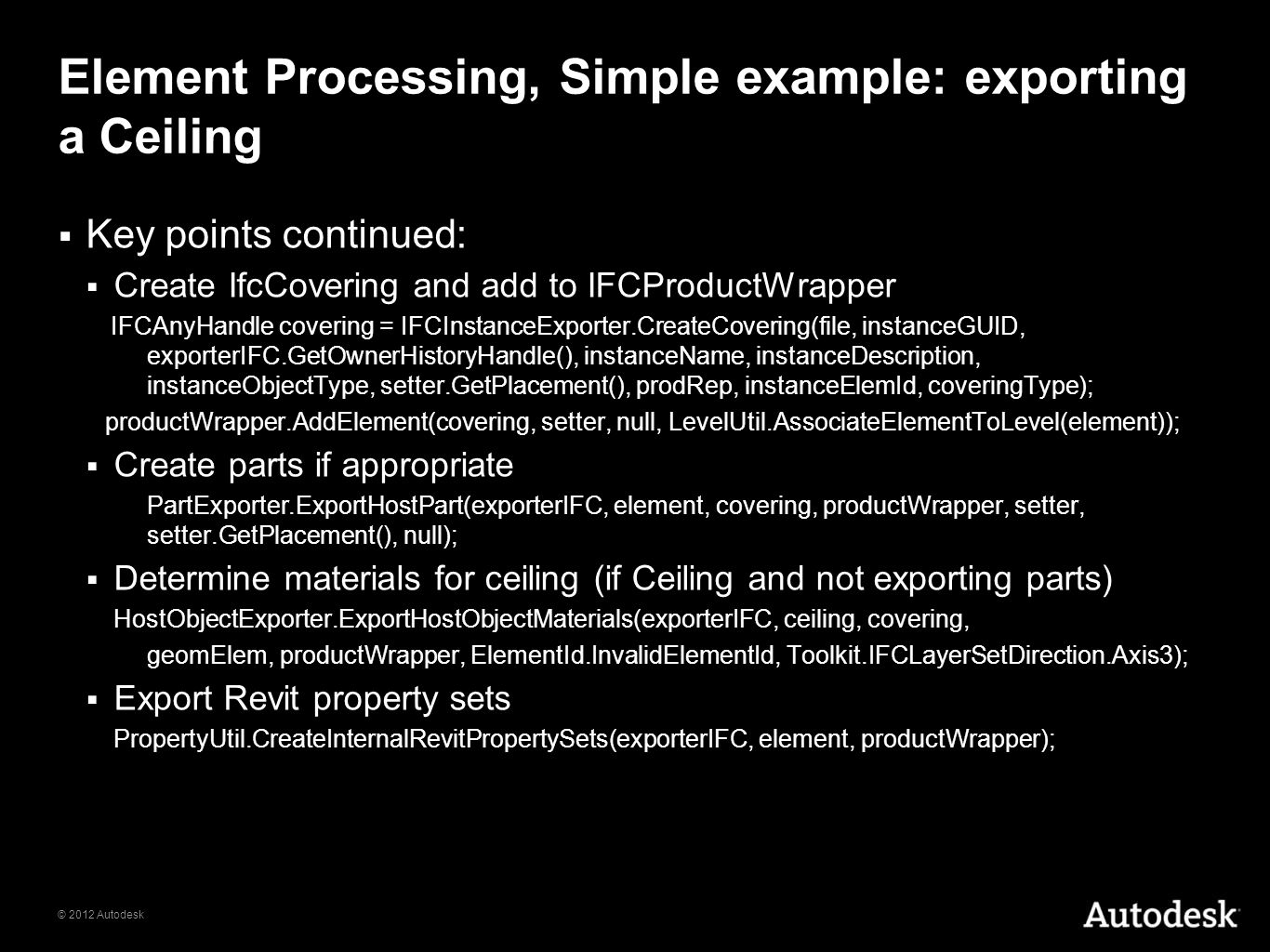 Element Processing, Simple example: exporting a Ceiling