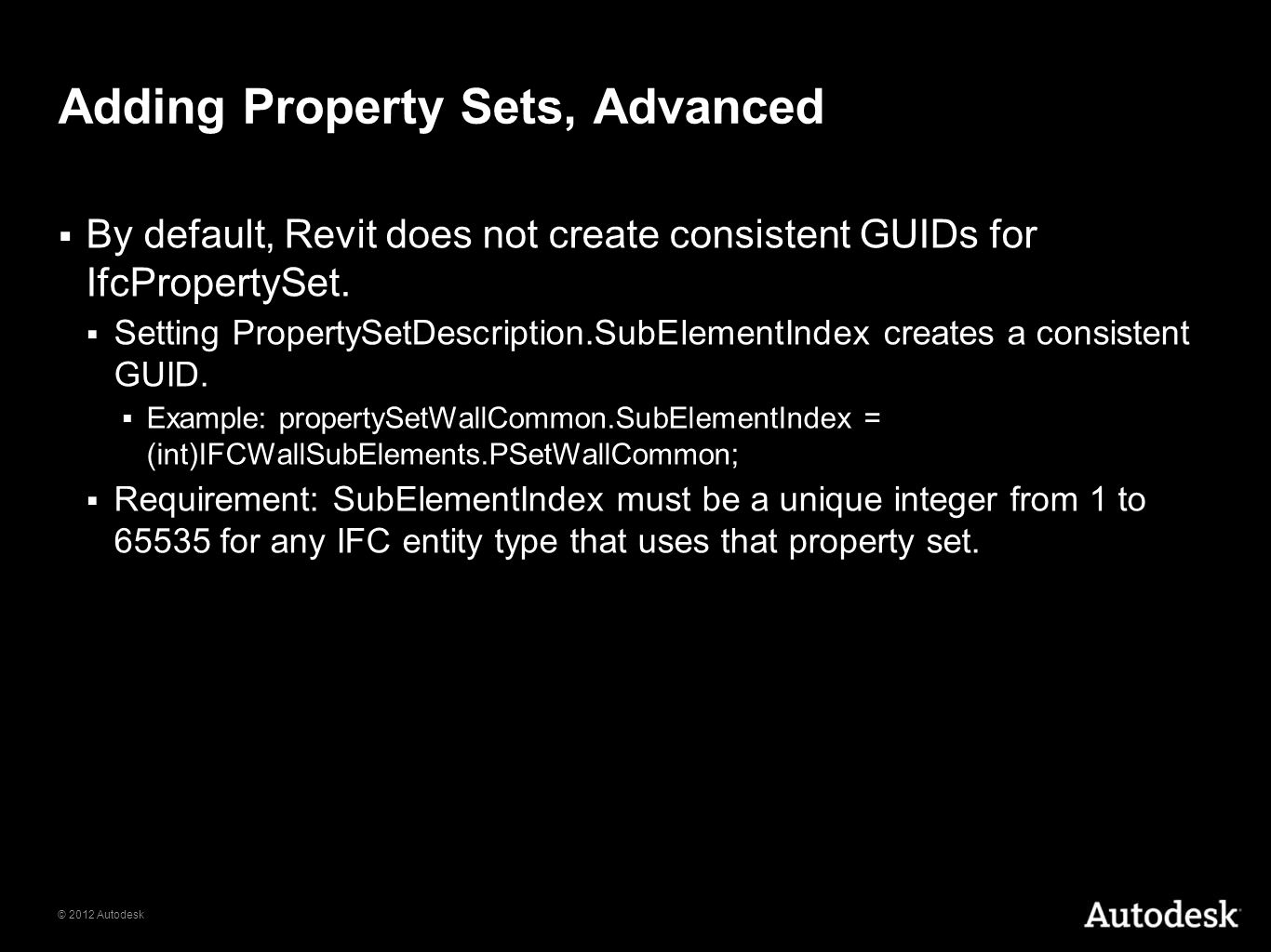 Adding Property Sets, Advanced