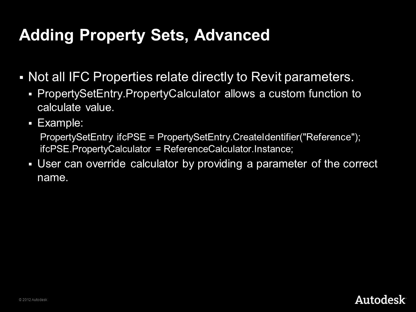 Adding Property Sets, Advanced
