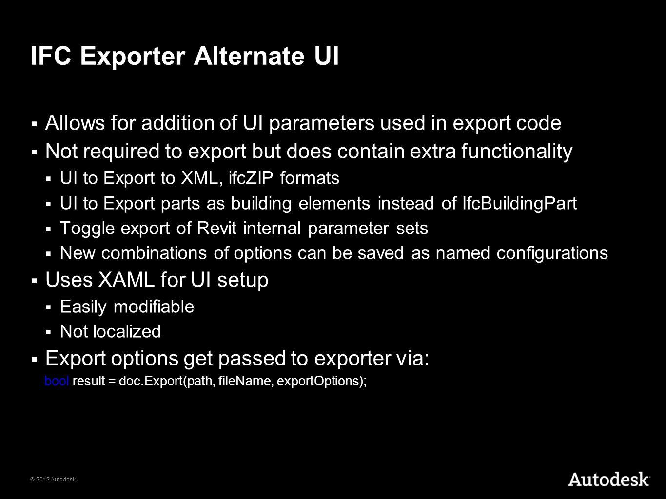 IFC Exporter Alternate UI