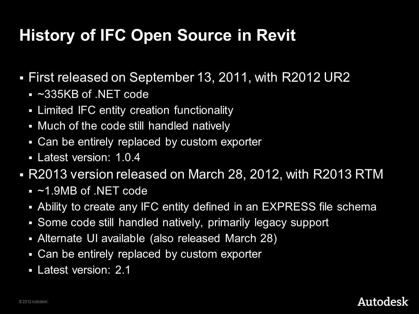 History of IFC Open Source in Revit