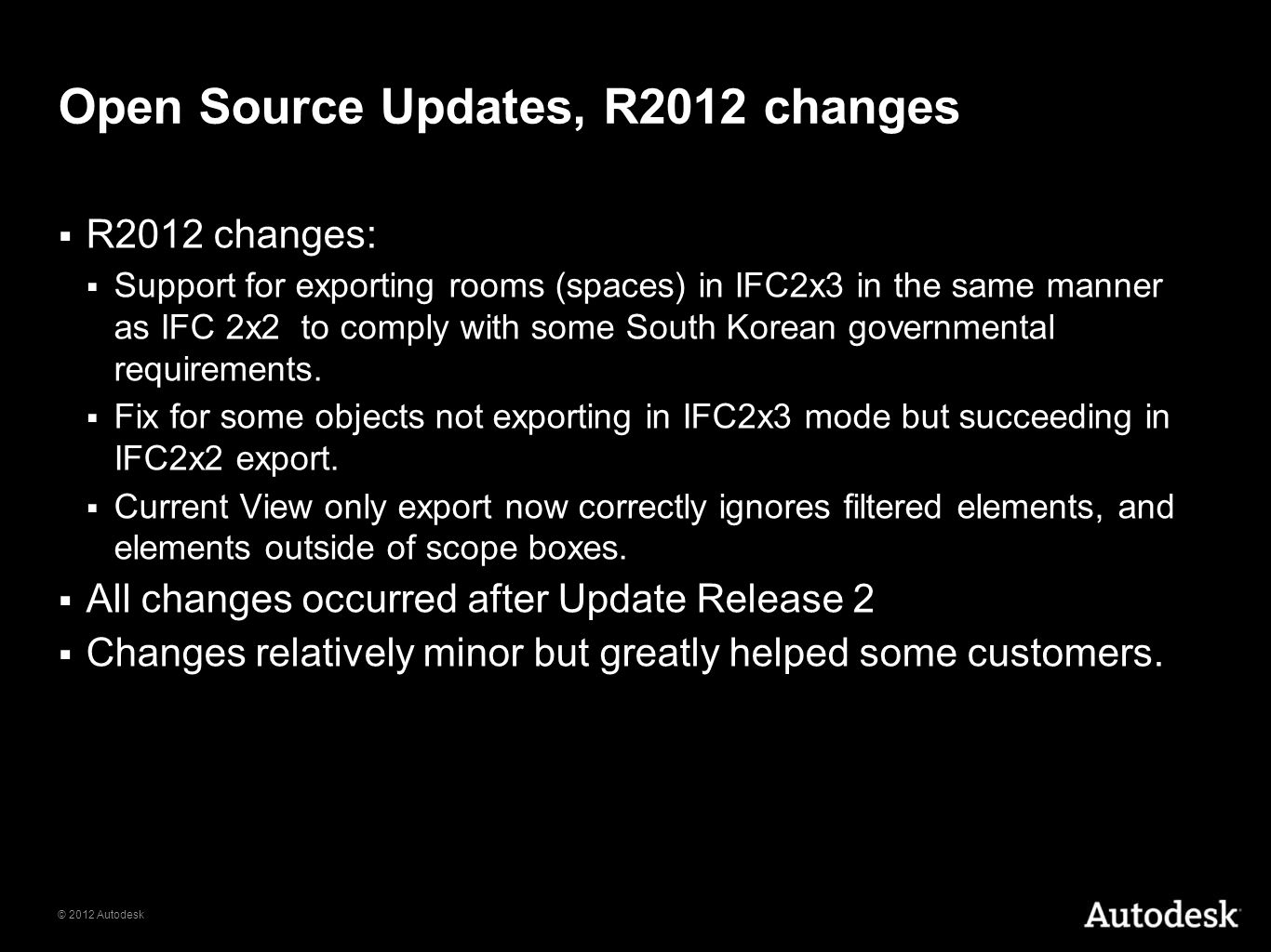 Open Source Updates, R2012 changes