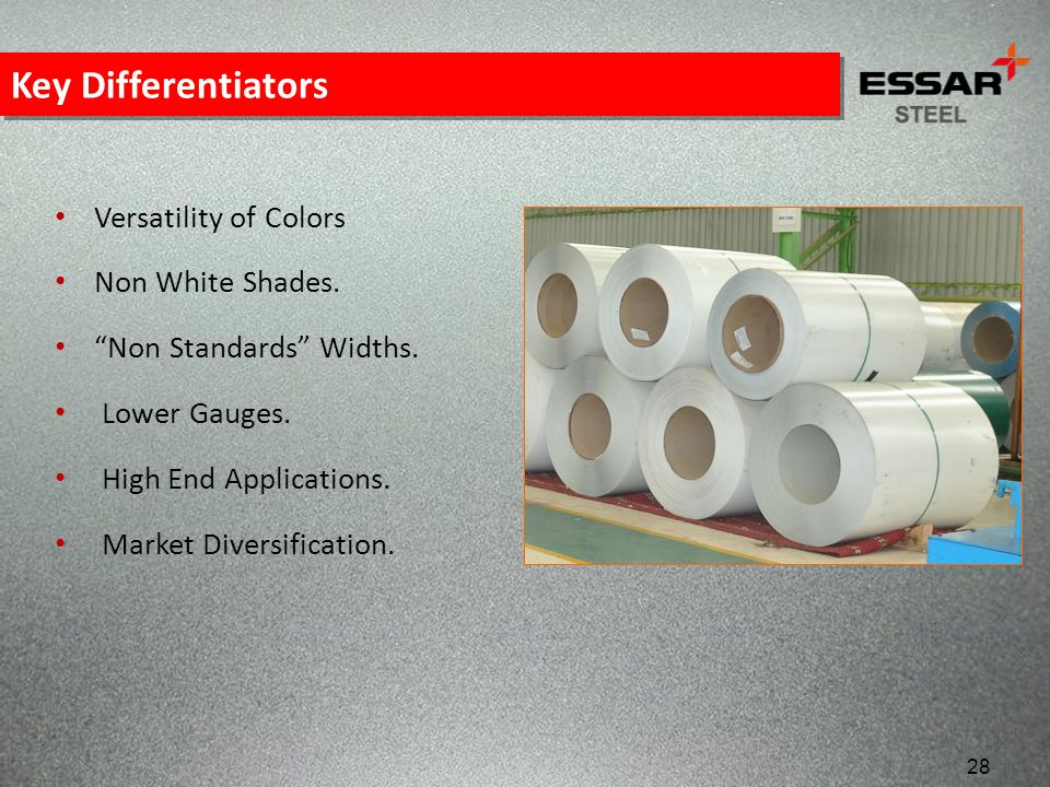 Key Differentiators Versatility of Colors Non White Shades.