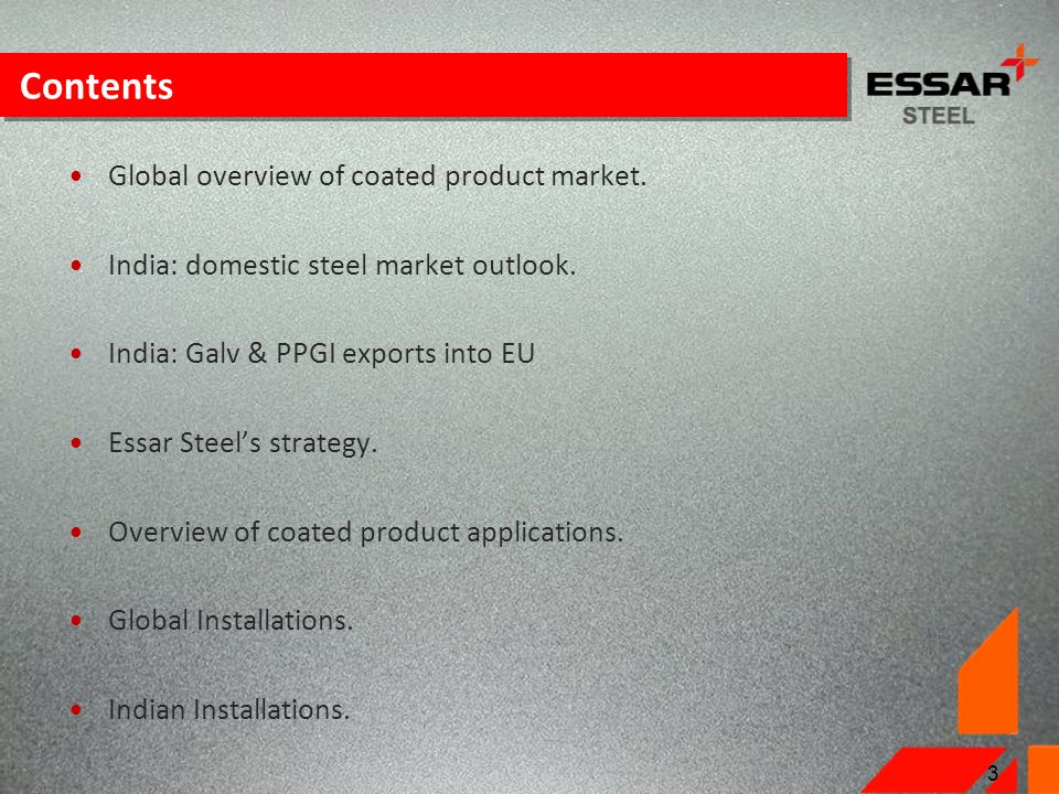 Contents Global overview of coated product market.