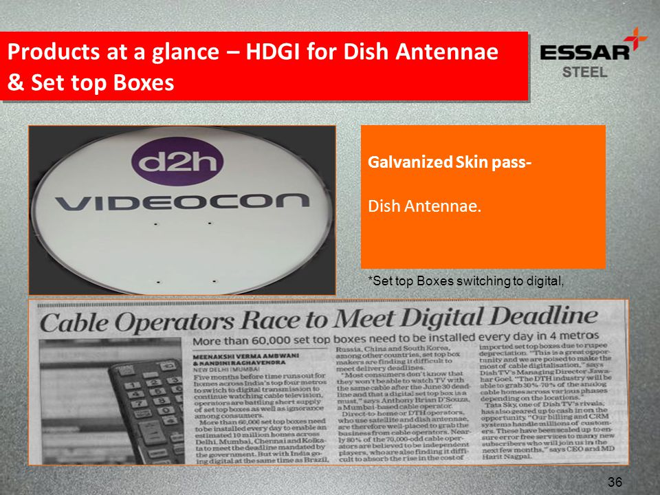Products at a glance – HDGI for Dish Antennae & Set top Boxes