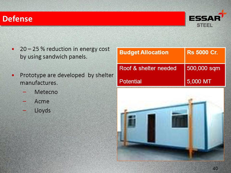 Defense 20 – 25 % reduction in energy cost by using sandwich panels.