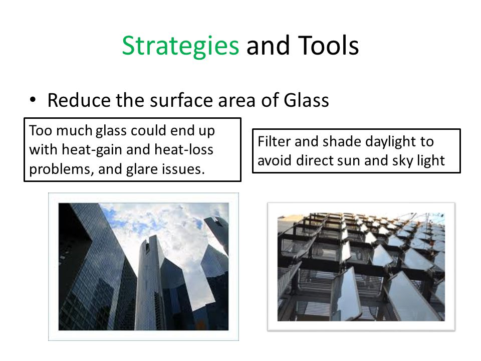 Strategies and Tools Reduce the surface area of Glass