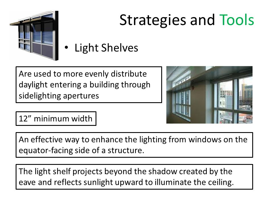 Strategies and Tools Light Shelves