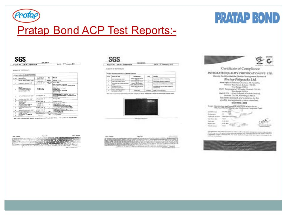 Pratap Bond ACP Test Reports:-