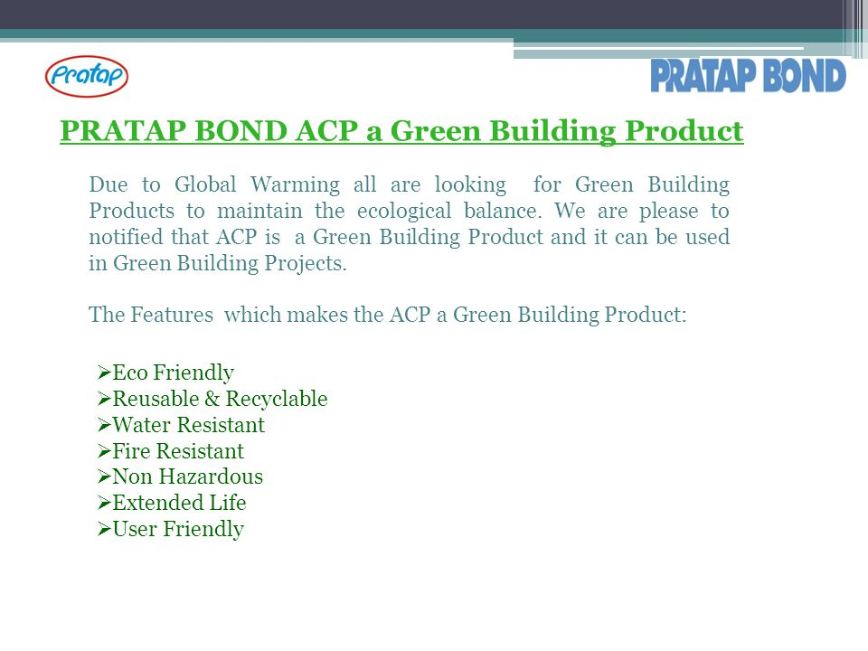 PRATAP BOND ACP a Green Building Product