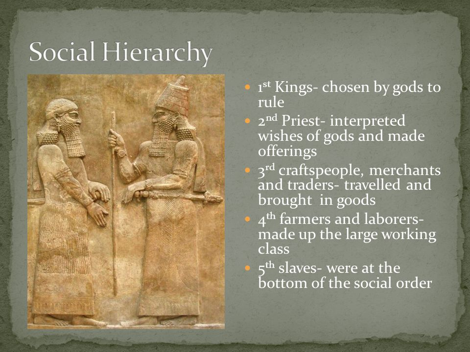 Social Hierarchy 1st Kings- chosen by gods to rule