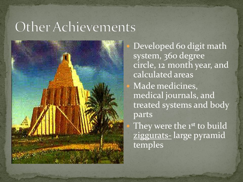 Other Achievements Developed 60 digit math system, 360 degree circle, 12 month year, and calculated areas.